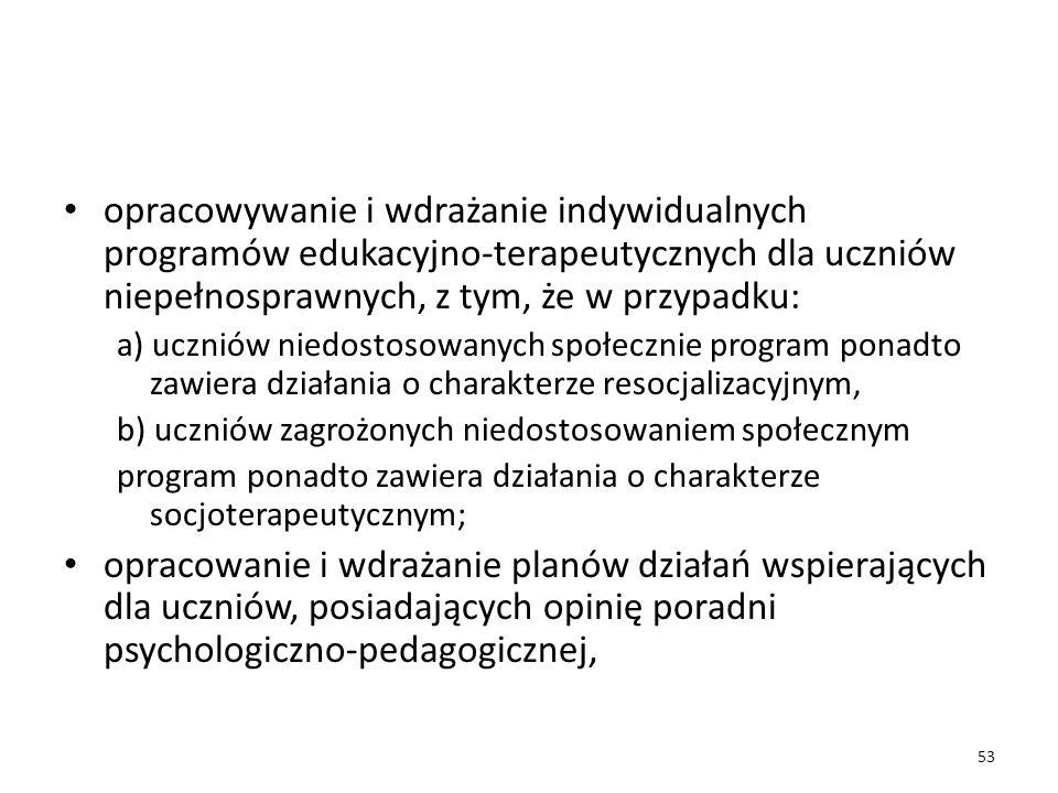 opracowywanie i wdrażanie indywidualnych programów edukacyjno-terapeutycznych dla uczniów niepełnosprawnych, z tym, że w przypadku: a) uczniów niedost