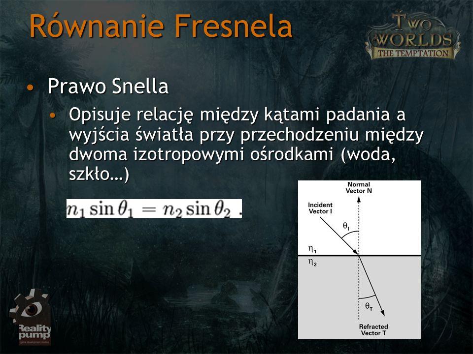 Równanie Fresnela Prawo SnellaPrawo Snella Opisuje relację między kątami padania a wyjścia światła przy przechodzeniu między dwoma izotropowymi ośrodk