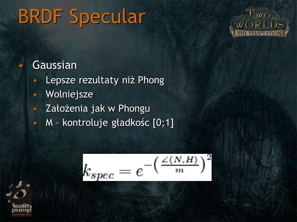 BRDF Specular GaussianGaussian Lepsze rezultaty niż PhongLepsze rezultaty niż Phong WolniejszeWolniejsze Założenia jak w PhonguZałożenia jak w Phongu