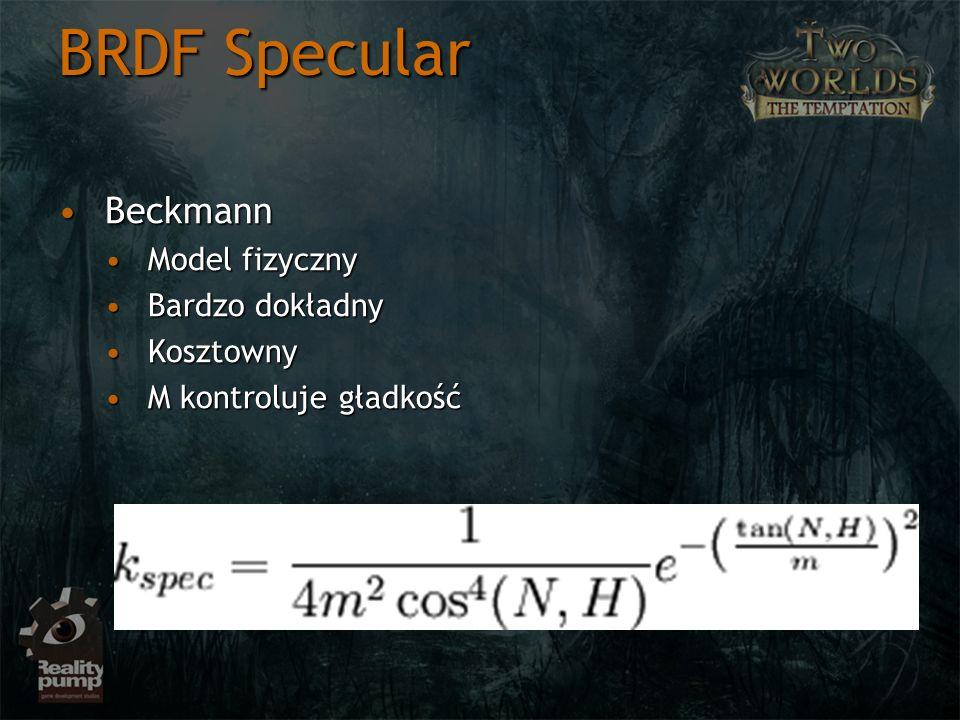 BRDF Specular BeckmannBeckmann Model fizycznyModel fizyczny Bardzo dokładnyBardzo dokładny KosztownyKosztowny M kontroluje gładkośćM kontroluje gładko