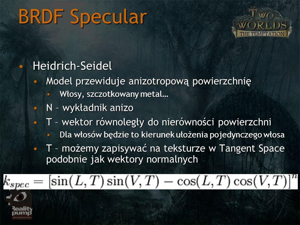 BRDF Specular Heidrich-SeidelHeidrich-Seidel Model przewiduje anizotropową powierzchnięModel przewiduje anizotropową powierzchnię Włosy, szczotkowany
