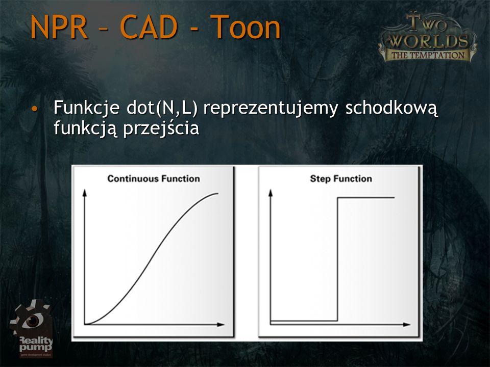 NPR – CAD - Toon Funkcje dot(N,L) reprezentujemy schodkową funkcją przejściaFunkcje dot(N,L) reprezentujemy schodkową funkcją przejścia