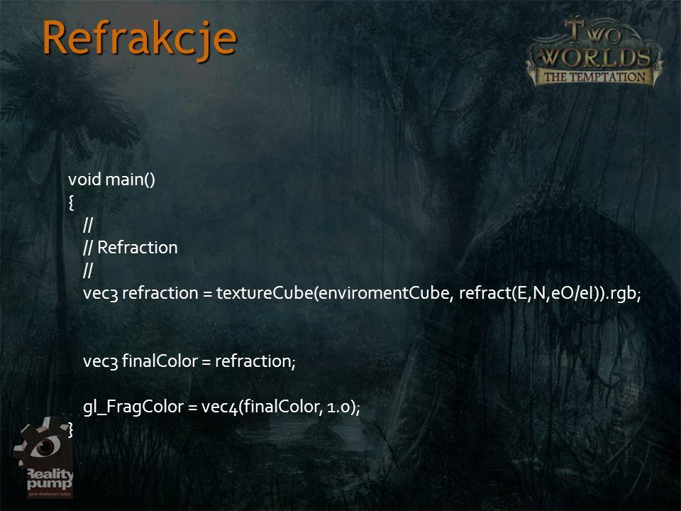 Refrakcje void main() { // // Refraction // vec3 refraction = textureCube(enviromentCube, refract(E,N,eO/eI)).rgb; vec3 finalColor = refraction; gl_Fr