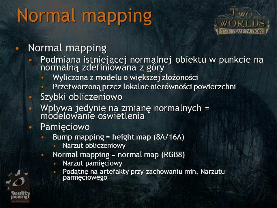 Normal mapping Normal mappingNormal mapping Podmiana istniejącej normalnej obiektu w punkcie na normalną zdefiniowana z góryPodmiana istniejącej norma
