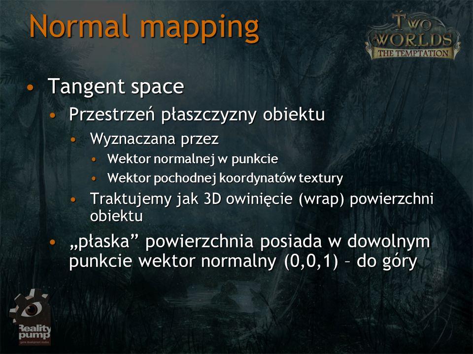 Normal mapping Tangent spaceTangent space Przestrzeń płaszczyzny obiektuPrzestrzeń płaszczyzny obiektu Wyznaczana przezWyznaczana przez Wektor normaln