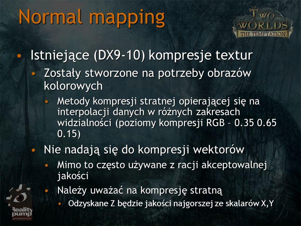 Normal mapping Istniejące (DX9-10) kompresje texturIstniejące (DX9-10) kompresje textur Zostały stworzone na potrzeby obrazów kolorowychZostały stworz