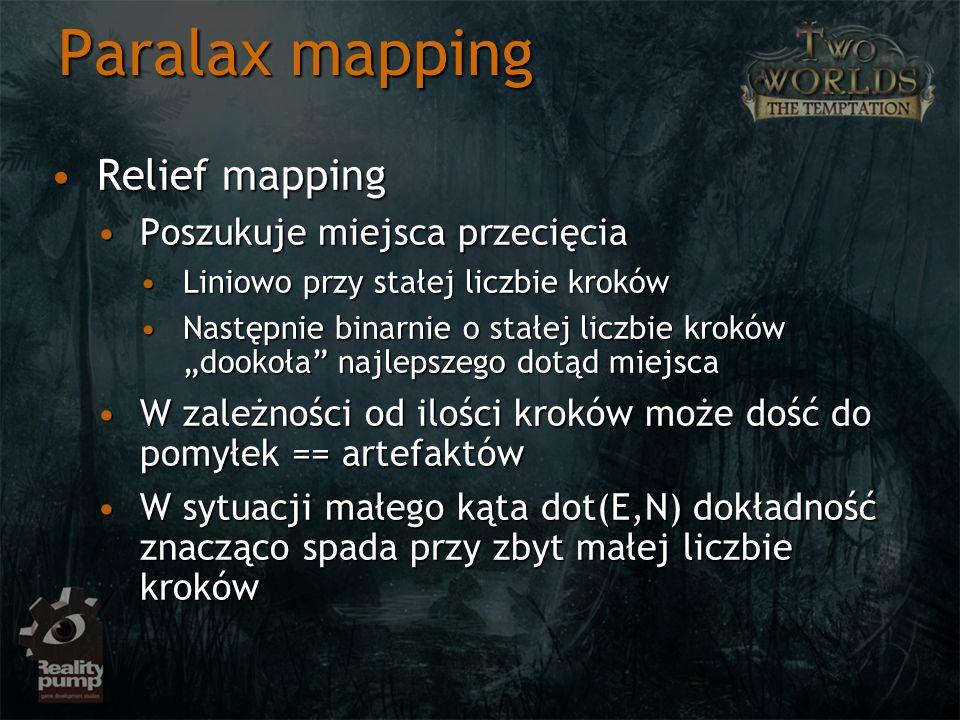 Paralax mapping Relief mappingRelief mapping Poszukuje miejsca przecięciaPoszukuje miejsca przecięcia Liniowo przy stałej liczbie krokówLiniowo przy s