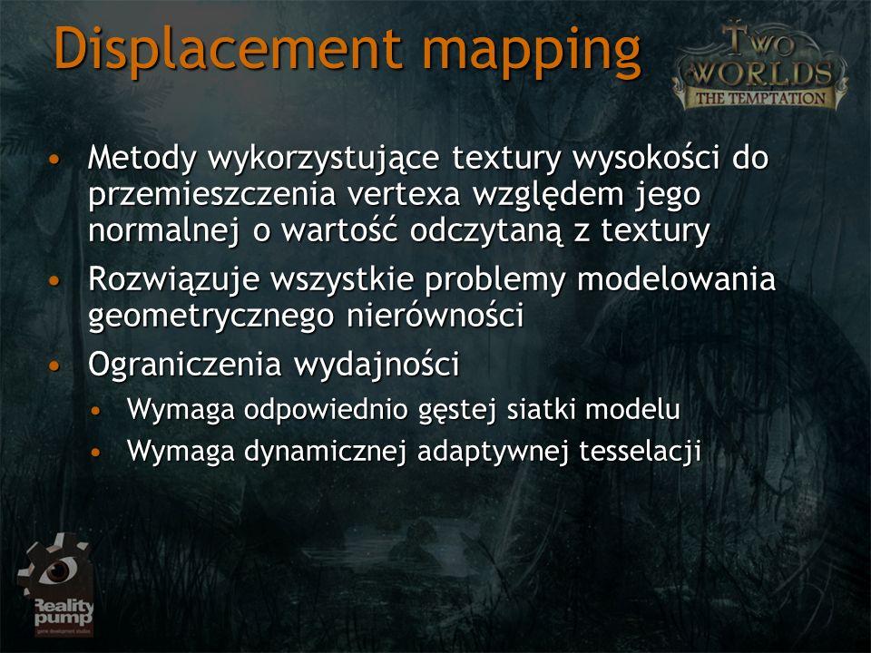 Displacement mapping Metody wykorzystujące textury wysokości do przemieszczenia vertexa względem jego normalnej o wartość odczytaną z texturyMetody wy
