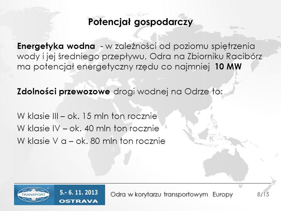 Odra w korytarzu transportowym Europy Odra w korytarzu transportowym Europy 8/15 Potencjał gospodarczy Energetyka wodna - w zależności od poziomu spiętrzenia wody i jej średniego przepływu, Odra na Zbiorniku Racibórz ma potencjał energetyczny rzędu co najmniej 10 MW Zdolności przewozowe drogi wodnej na Odrze to: W klasie III – ok.