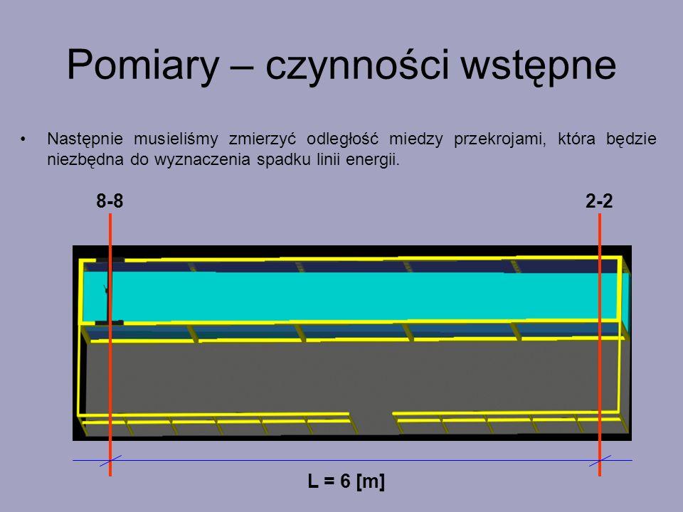 Pomiary – czynności wstępne 8-82-2 Następnie musieliśmy zmierzyć odległość miedzy przekrojami, która będzie niezbędna do wyznaczenia spadku linii ener