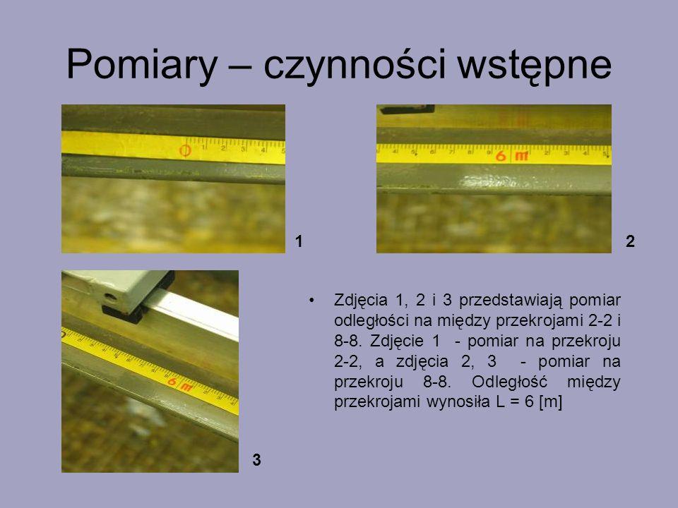 Pomiary – czynności wstępne Zdjęcia 1, 2 i 3 przedstawiają pomiar odległości na między przekrojami 2-2 i 8-8. Zdjęcie 1 - pomiar na przekroju 2-2, a z