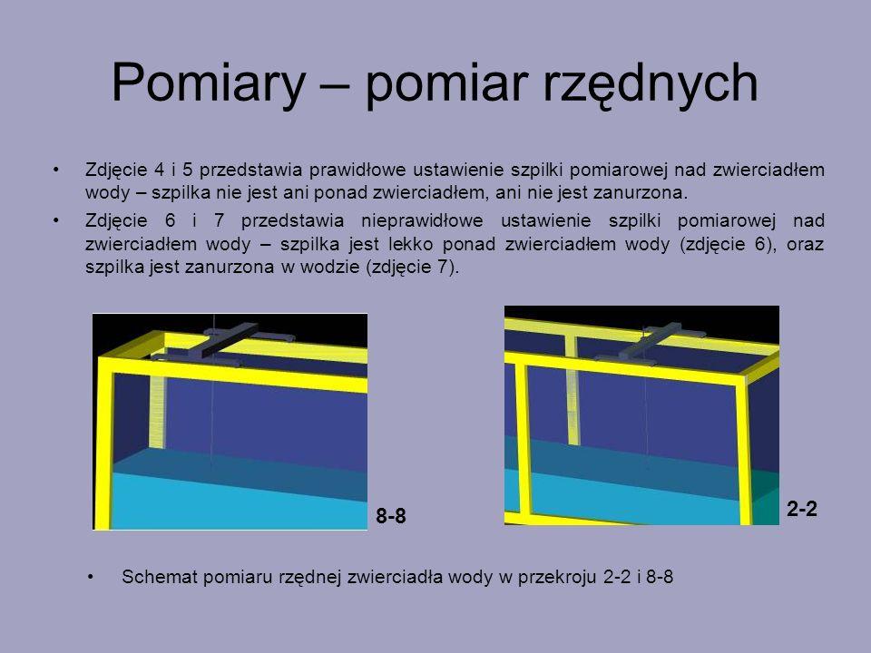 Zdjęcie 4 i 5 przedstawia prawidłowe ustawienie szpilki pomiarowej nad zwierciadłem wody – szpilka nie jest ani ponad zwierciadłem, ani nie jest zanur