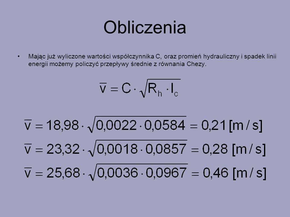 Obliczenia Mając już wyliczone wartości współczynnika C, oraz promień hydrauliczny i spadek linii energii możemy policzyć przepływy średnie z równania