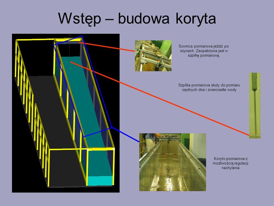 Wstęp – budowa koryta Suwnica pomiarowa jeździ po szynach. Zaopatrzona jest w szpilkę pomiarową. Szpilka pomiarowa służy do pomiaru rzędnych dna i zwi
