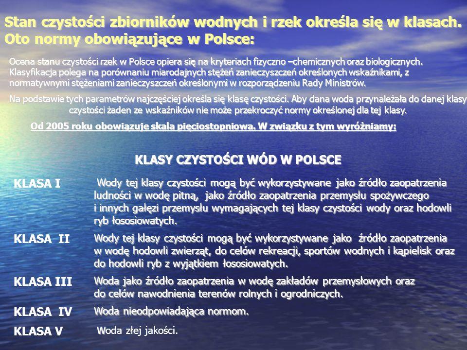 Ocena stanu czystości rzek w Polsce opiera się na kryteriach fizyczno –chemicznych oraz biologicznych. Klasyfikacja polega na porównaniu miarodajnych