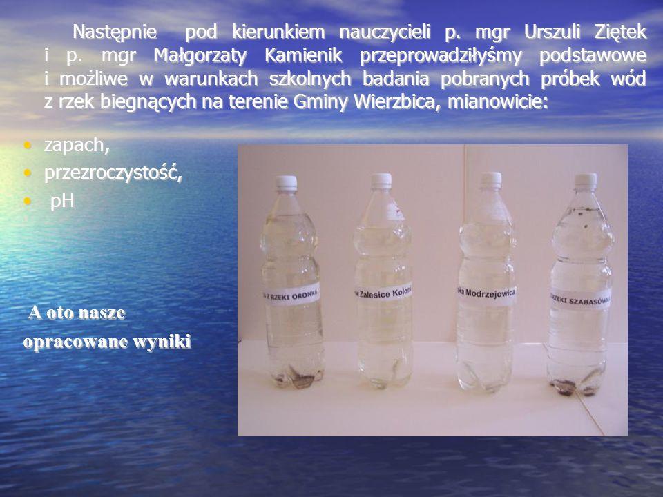 Następnie pod kierunkiem nauczycieli p. mgr Urszuli Ziętek i p. mgr Małgorzaty Kamienik przeprowadziłyśmy podstawowe i możliwe w warunkach szkolnych b