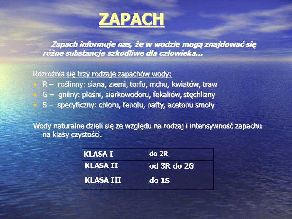 ZAPACH KLASA I do 2R KLASA II od 3R do 2G KLASA III do 1S Zapach informuje nas, że w wodzie mogą znajdować się różne substancje szkodliwe dla człowiek