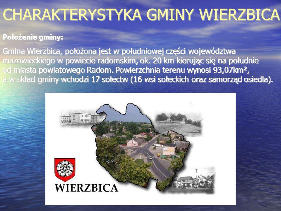 CHARAKTERYSTYKA GMINY WIERZBICA Położenie gminy: Gmina Wierzbica, położona jest w południowej części województwa mazowieckiego w powiecie radomskim, o