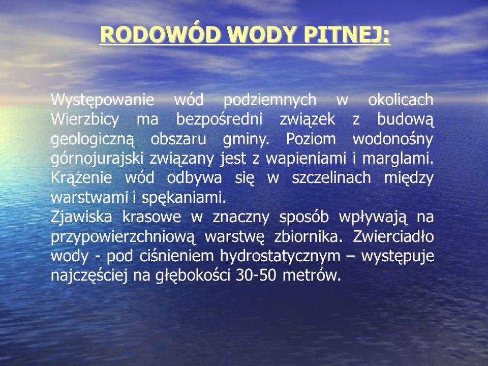 RODOWÓD WODY PITNEJ: Występowanie wód podziemnych w okolicach Wierzbicy ma bezpośredni związek z budową geologiczną obszaru gminy. Poziom wodonośny gó