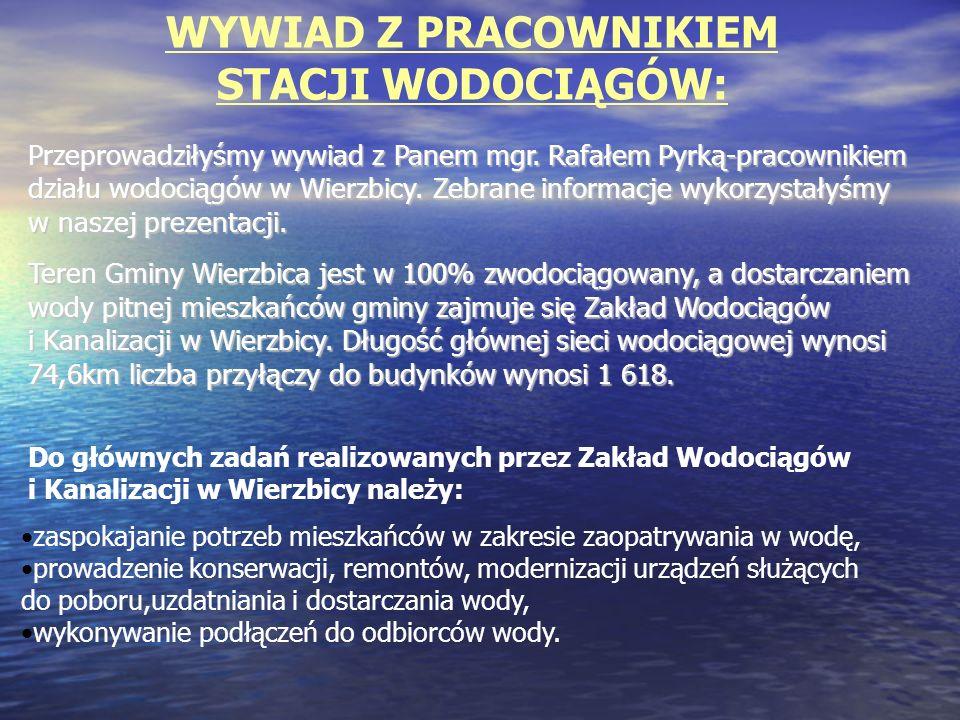 Na terenie gminy zlokalizowane są następujące ujęcia wody: WierzbicaWierzbica Polany-PomorzanyPolany-Pomorzany ZalesiceZalesice Ruda Wielka-KresyRuda Wielka-Kresy
