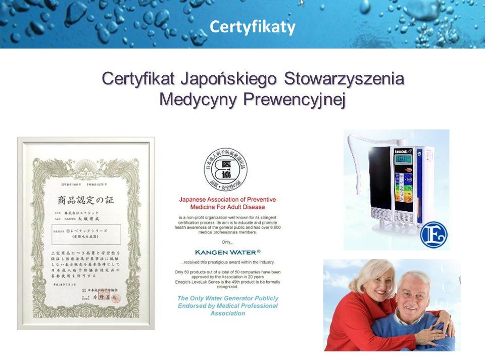 Certyfikat Japońskiego Stowarzyszenia Medycyny Prewencyjnej Certyfikaty