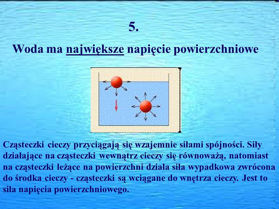 5. Woda ma największe napięcie powierzchniowe Cząsteczki cieczy przyciągają się wzajemnie siłami spójności. Siły działające na cząsteczki wewnątrz cie