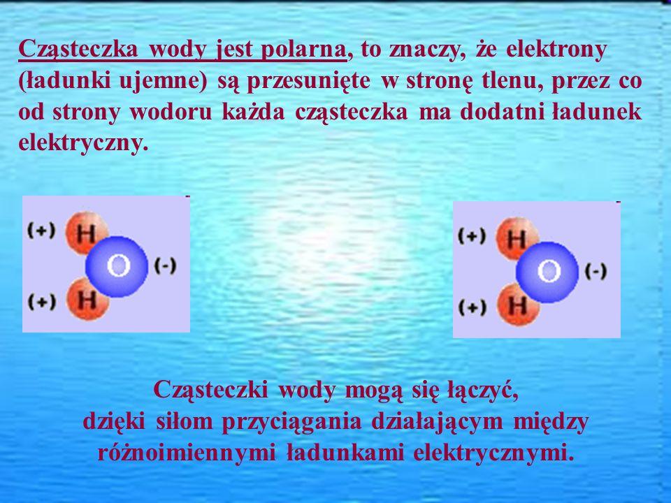 Cząsteczka wody jest polarna, to znaczy, że elektrony (ładunki ujemne) są przesunięte w stronę tlenu, przez co od strony wodoru każda cząsteczka ma do