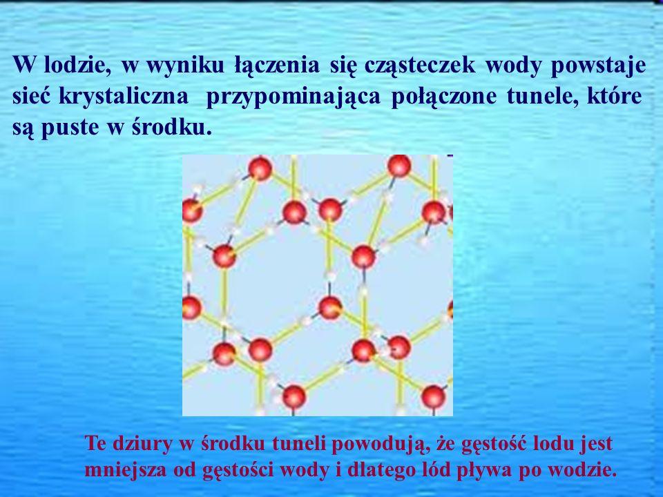 W lodzie, w wyniku łączenia się cząsteczek wody powstaje sieć krystaliczna przypominająca połączone tunele, które są puste w środku.