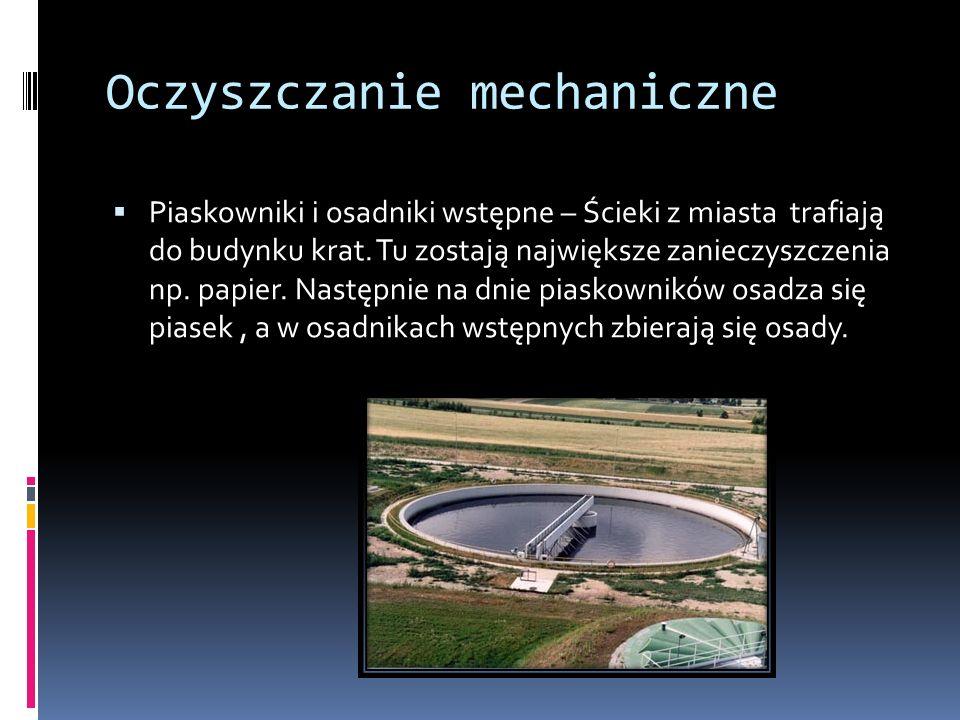 Oczyszczanie mechaniczne Piaskowniki i osadniki wstępne – Ścieki z miasta trafiają do budynku krat.
