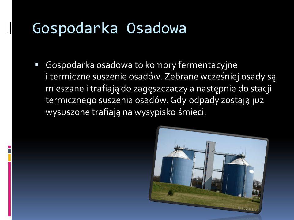 Gospodarka Osadowa Gospodarka osadowa to komory fermentacyjne i termiczne suszenie osadów.