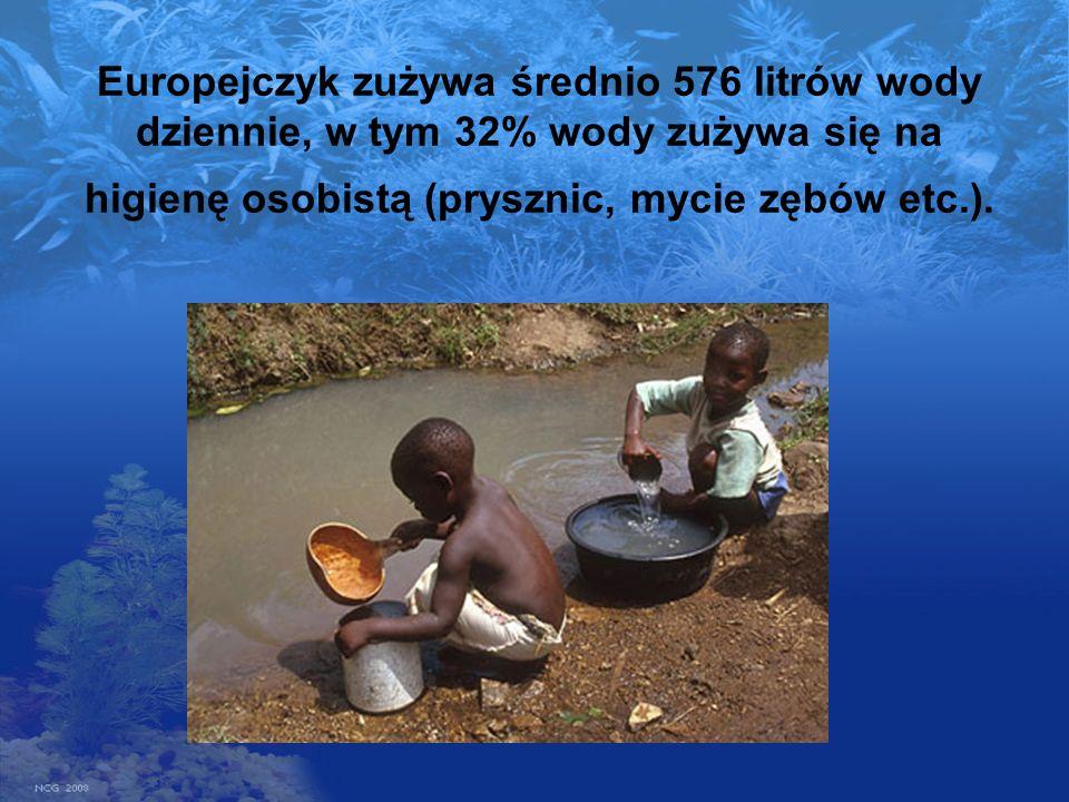 Europejczyk zużywa średnio 576 litrów wody dziennie, w tym 32% wody zużywa się na higienę osobistą (prysznic, mycie zębów etc.).