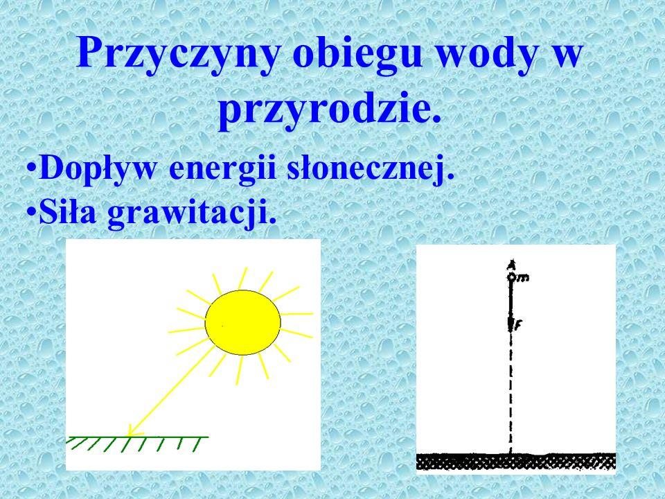 Przyczyny obiegu wody w przyrodzie. Dopływ energii słonecznej. Siła grawitacji.