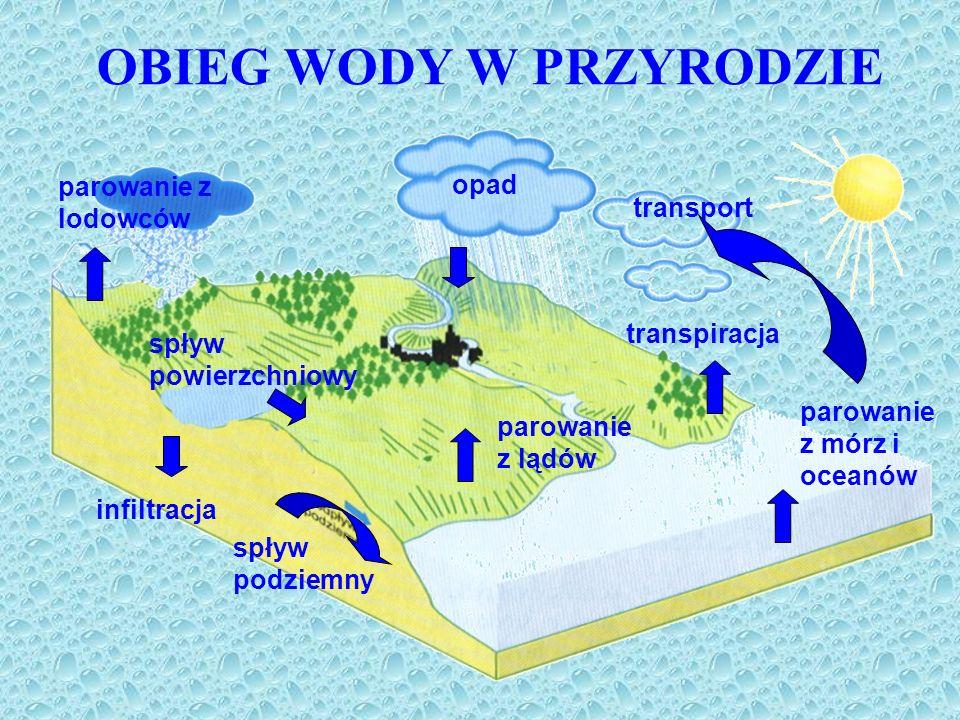 OBIEG WODY W PRZYRODZIE parowanie z lodowców opad transpiracja parowanie z mórz i oceanów parowanie z lądów spływ podziemny spływ powierzchniowy trans