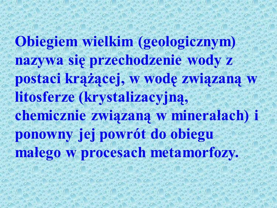 Obiegiem wielkim (geologicznym) nazywa się przechodzenie wody z postaci krążącej, w wodę związaną w litosferze (krystalizacyjną, chemicznie związaną w