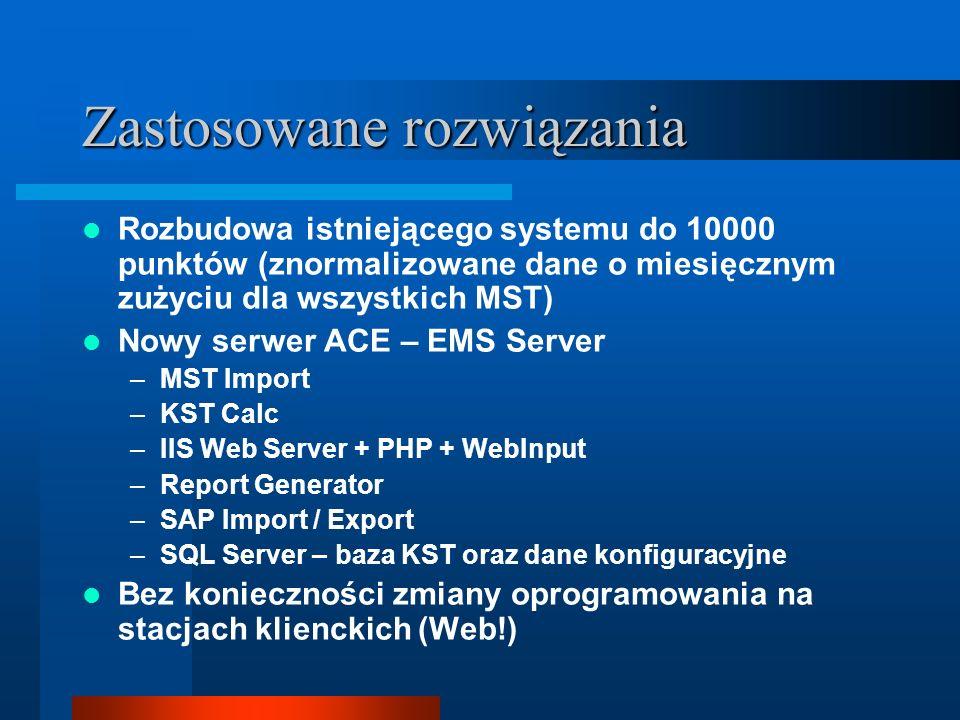 Zastosowane rozwiązania Rozbudowa istniejącego systemu do 10000 punktów (znormalizowane dane o miesięcznym zużyciu dla wszystkich MST) Nowy serwer ACE – EMS Server –MST Import –KST Calc –IIS Web Server + PHP + WebInput –Report Generator –SAP Import / Export –SQL Server – baza KST oraz dane konfiguracyjne Bez konieczności zmiany oprogramowania na stacjach klienckich (Web!)