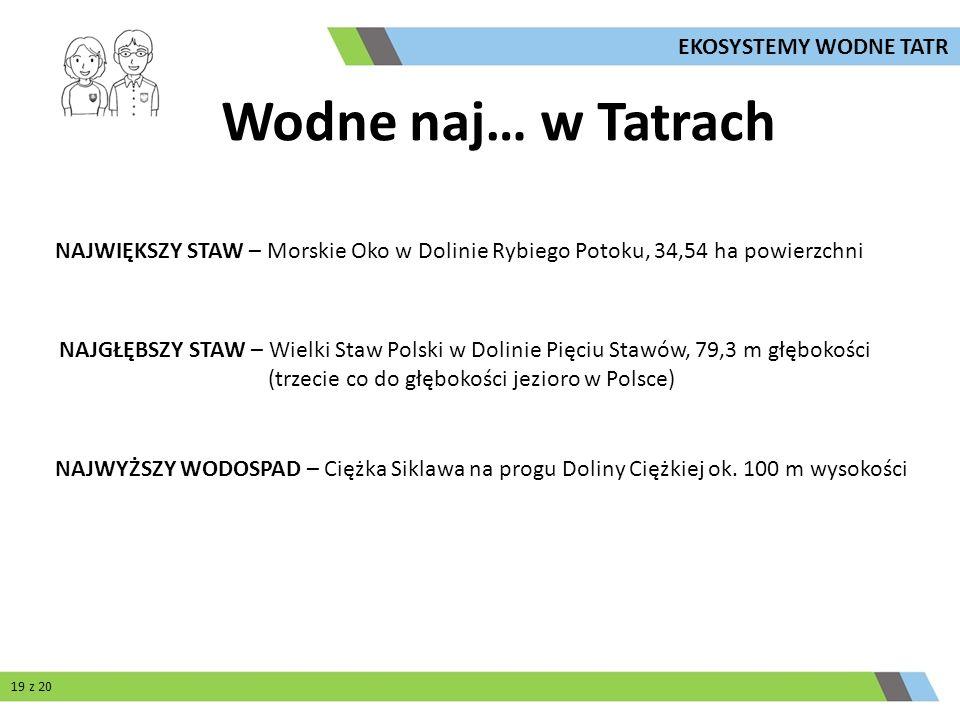 Wodne naj… w Tatrach NAJWIĘKSZY STAW – Morskie Oko w Dolinie Rybiego Potoku, 34,54 ha powierzchni NAJGŁĘBSZY STAW – Wielki Staw Polski w Dolinie Pięci