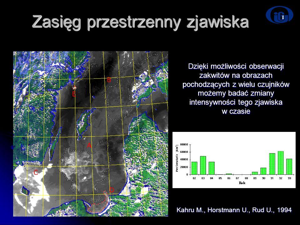 Zasięg przestrzenny zjawiska Kahru M., Horstmann U., Rud U., 1994 Dzięki możliwości obserwacji zakwitów na obrazach pochodzących z wielu czujników moż