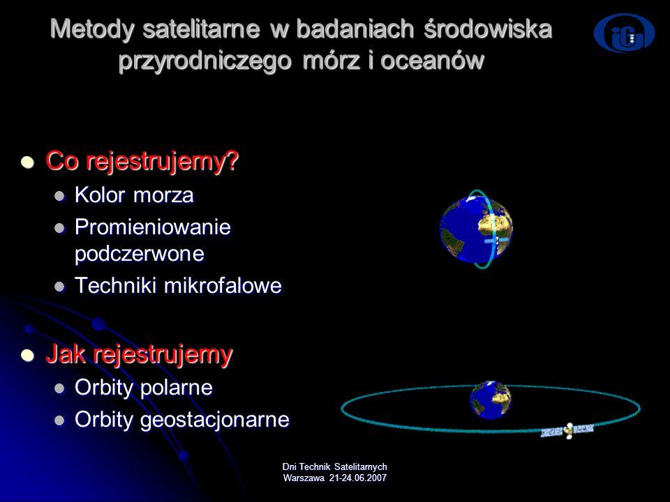 Dni Technik Satelitarnych Warszawa 21-24.06.2007 Metody satelitarne w badaniach środowiska przyrodniczego mórz i oceanów Co rejestrujemy? Co rejestruj