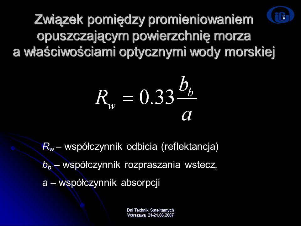 Dni Technik Satelitarnych Warszawa 21-24.06.2007 Związek pomiędzy promieniowaniem opuszczającym powierzchnię morza a właściwościami optycznymi wody mo
