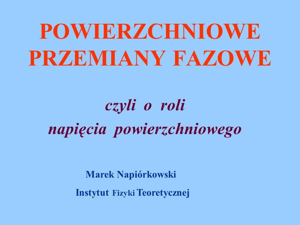POWIERZCHNIOWE PRZEMIANY FAZOWE czyli o roli napięcia powierzchniowego Marek Napiórkowski Instytut Fizyki Teoretycznej
