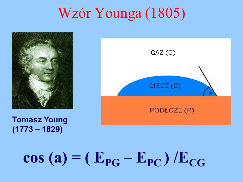 Wzór Younga (1805) Tomasz Young (1773 – 1829) cos (a) = ( E PG – E PC ) /E CG
