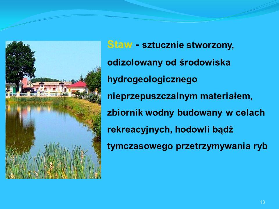 13 Staw - sztucznie stworzony, odizolowany od środowiska hydrogeologicznego nieprzepuszczalnym materiałem, zbiornik wodny budowany w celach rekreacyjnych, hodowli bądź tymczasowego przetrzymywania ryb