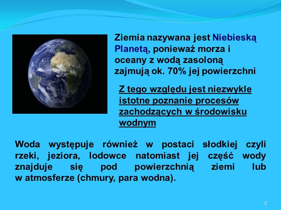 2 Woda występuje również w postaci słodkiej czyli rzeki, jeziora, lodowce natomiast jej część wody znajduje się pod powierzchnią ziemi lub w atmosferze (chmury, para wodna).