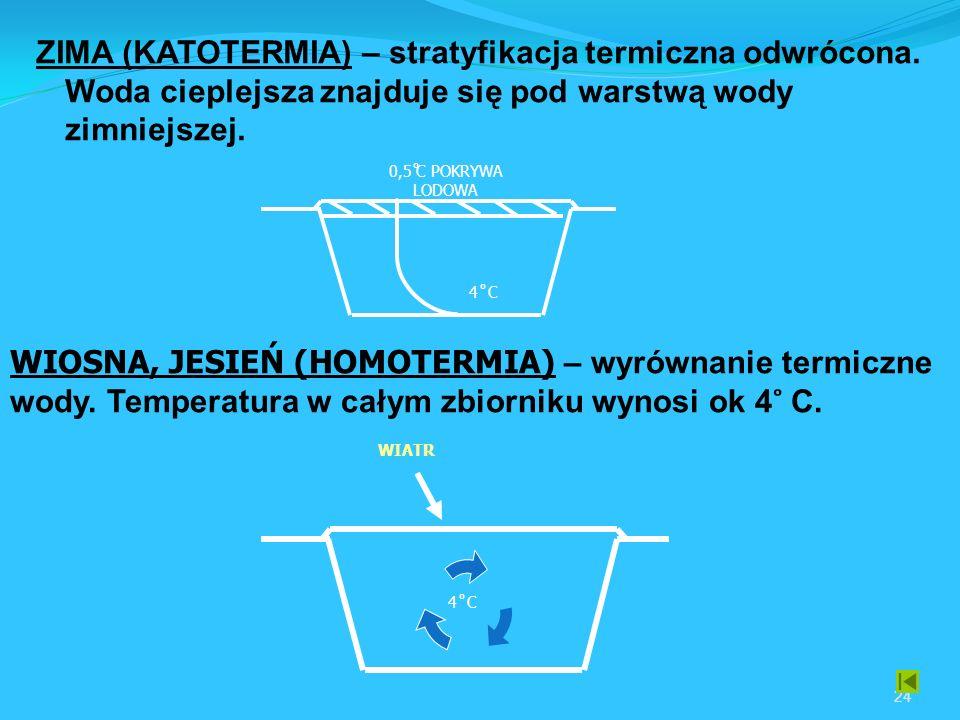 24 ZIMA (KATOTERMIA) – stratyfikacja termiczna odwrócona.