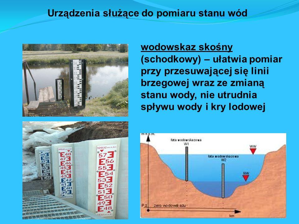 41 wodowskaz skośny (schodkowy) – ułatwia pomiar przy przesuwającej się linii brzegowej wraz ze zmianą stanu wody, nie utrudnia spływu wody i kry lodowej Urządzenia służące do pomiaru stanu wód