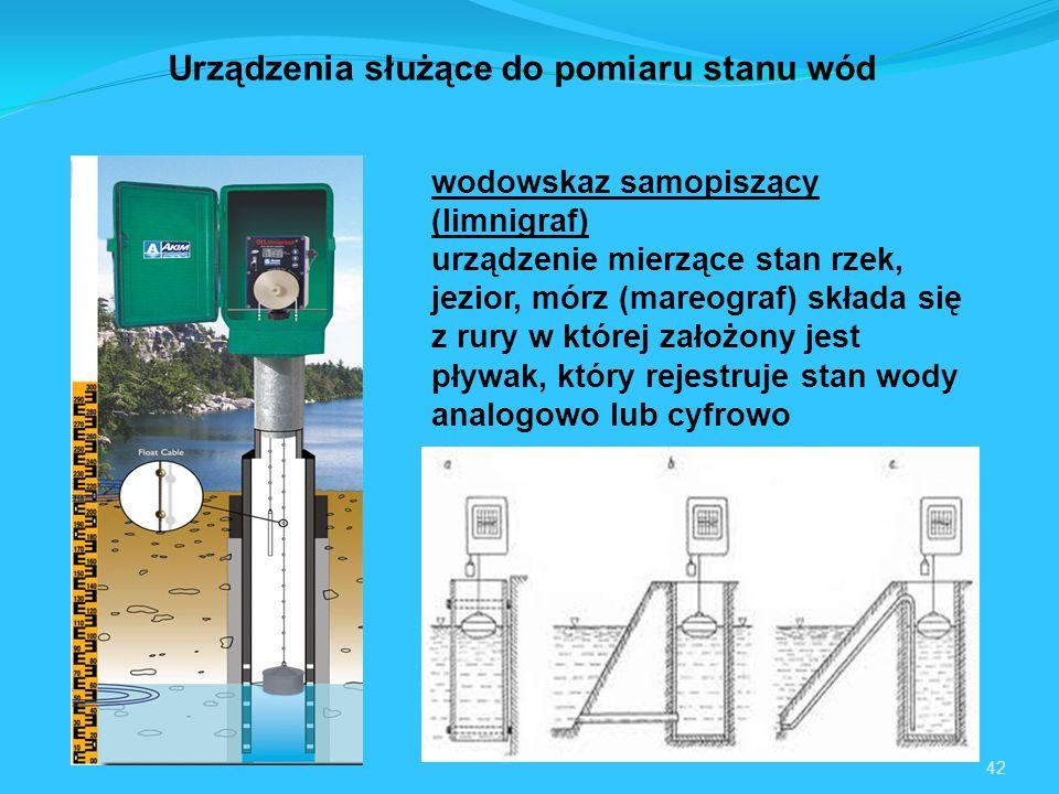 42 Urządzenia służące do pomiaru stanu wód wodowskaz samopiszący (limnigraf) urządzenie mierzące stan rzek, jezior, mórz (mareograf) składa się z rury w której założony jest pływak, który rejestruje stan wody analogowo lub cyfrowo