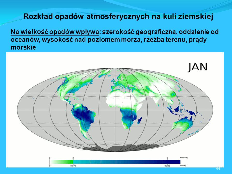44 Na wielkość opadów wpływa: szerokość geograficzna, oddalenie od oceanów, wysokość nad poziomem morza, rzeźba terenu, prądy morskie Rozkład opadów atmosferycznych na kuli ziemskiej