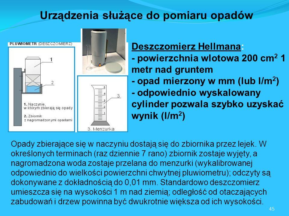 45 Urządzenia służące do pomiaru opadów Deszczomierz Hellmana: - powierzchnia wlotowa 200 cm 2 1 metr nad gruntem - opad mierzony w mm (lub l/m 2 ) - odpowiednio wyskalowany cylinder pozwala szybko uzyskać wynik (l/m 2 ) Opady zbierające się w naczyniu dostają się do zbiornika przez lejek.