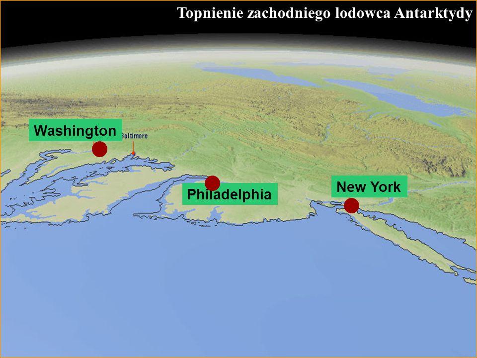 56 Topnienie zachodniego lodowca Antarktydy New York Philadelphia Washington