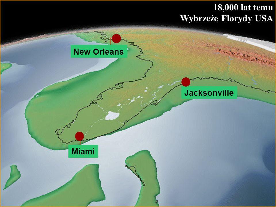 58 18,000 lat temu Wybrzeże Florydy USA Jacksonville Miami New Orleans